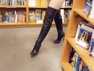 Sexy prom dress strip Knee boots and black dress strip with big tits
