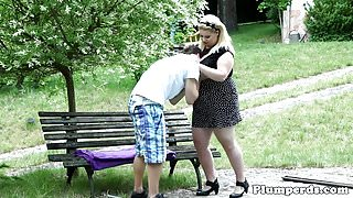 Outdoor plumper babe covers sub with bigtits