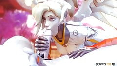 Hot Mercy from Overwatch gets to suck on big dick nicely