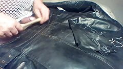PISS AND CUM ON VINTAGE LEATHER BIKER JACKET FUCKING THONGS