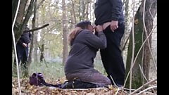 Sissy and horny crossdresser in the woods is fucked