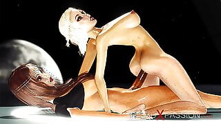 Sci-fi hot shemale plays with a sexy girl