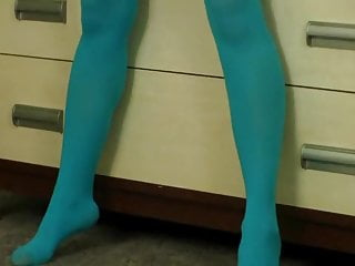 Blue pantyhose fetish Teen sara blue pantyhose tease