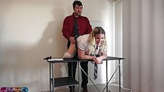 Naughty schoolgirl has a butt plug for her teacher