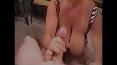 Grandma with huge breasts sucking dick till she gets cum on her mouth
