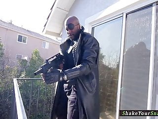 Fuck a black leather miniskirt Busty leather villain fucks black cock in ffm