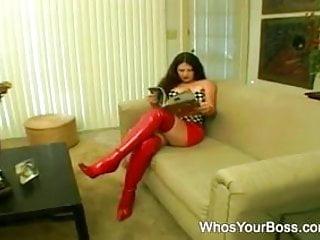 Sofa dildo Naughty femdom gets nailed on the sofa