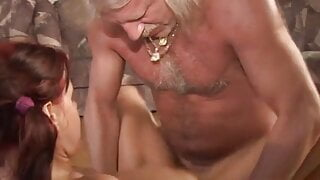 old man with mustache pleasing a horny girl