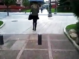 Wellington adult - Nice girl wearing black opaque tights and wellingtons