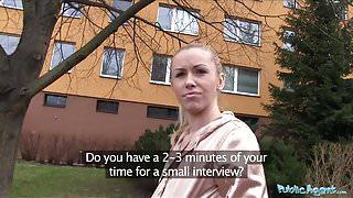 Public Agent Married blonde is unfaithful for cash