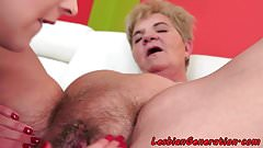 Hairypussy lesbian mature pleasured by babe