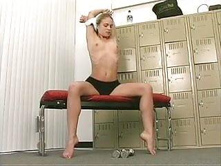 Lusty sex stoir - Lusty blond rubs her juicy hairy pussy in lockerroom