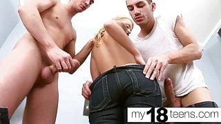 MY18TEENS - Blonde DP Cock Stranger and Oral Creampie