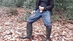 Horny wank and cum in forest wearing dirty rubber boots