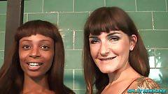Ebony Lola Marie takes cum in a bukakke party