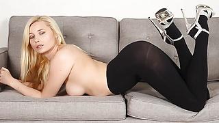 Solo blonde, Carolina Sweets is wearing nylons, in 4K