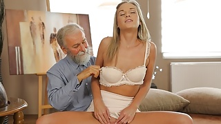 OLD4K. Dreams come true when lovely girl takes old dick
