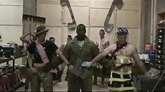 Sweet solders performing Gaga's Telephone