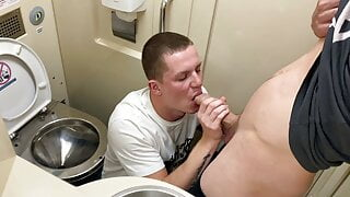 Gave a guy a blowjob on a toilet train