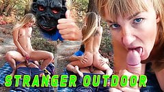 Незнакомец в маске обезьяны поймал в лесу русскую туристку, когда она мастурбировала. Секс на улице