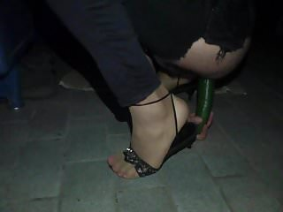 Sex toys crossdressing Crossdresser night with pink toe nails and cucumber 4