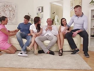 Three is an orgy Three couples swinger party