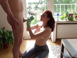 Silver gloves amateur tournament - Latex-gloved redhead handjob in the afternoon