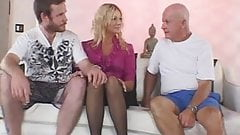 Hubby enjoyed watching his blonde wife on a live sex with a