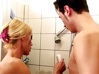 Fucked in shower teen German step-mom help son in shower and seduce to fuck