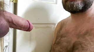 Hairy Step Dad sucks Ginger Meat through a Glory Hole