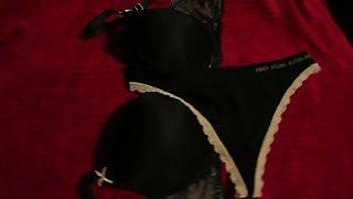 Cumshot on bra and thong