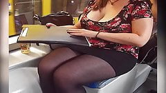 Thick legs black pantyhose Candid
