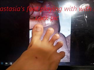 Neck hanging fetish pics - Anastasias foot playing with my cock pic