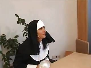 Naughty nun anal A nun gives some spanking to a naughty blonde