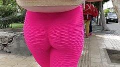 Teen Pink Leggings . Spandex Ass Walking 1