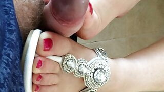 I give him a footjob with just my big toe, as my sexy sandal rests