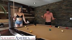 Naughty America Kenzie Madison plays strip pool with friend