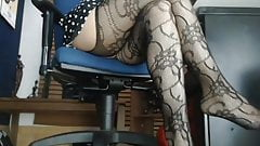 Sexy mature legs in office on hidden camera
