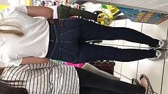Nerdy blonde teen ass in denim jeans