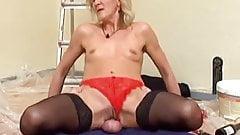 Skinny Blonde Mature in Stockings Fucks the Decorator