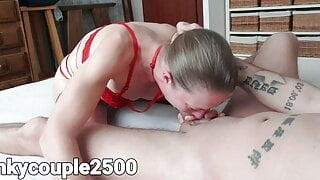 Perfect milf in red lingerie gives extreme deepthroat