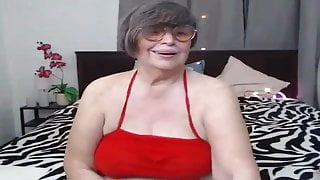 Old woman showing off