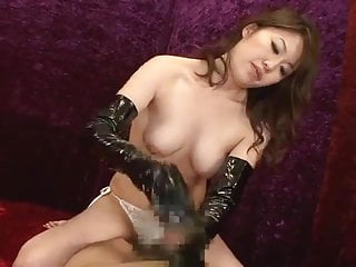 Vinyl adhesive strip - Jav idol - ejaculation with vinyl gloves