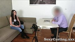 Casting Brunette amateur takes Creampie in casting interview