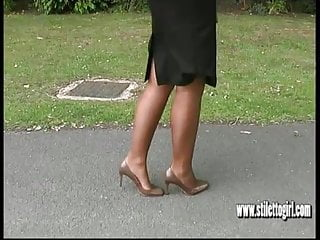 Leggy blonde strips Sexy nylons and high heels this hot leggy blonde has it all
