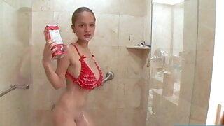 Teen Paris Milan takes a Shower