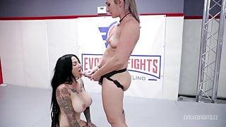 Savannah Fox vs Jenevieve Hexxx in rough lesbian wrestling