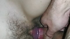 I stroke my wife's hairy pussy with my cock