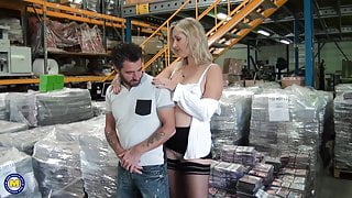 Sexy busty MILF gets anal sex from coworker