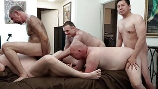 Br33dMeLA is loaded up a 5-way bareback daddy orgy, pt 2